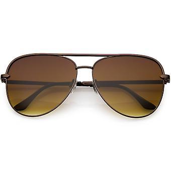 Klassieke Oversize metalen Aviator zonnebril bruin vlakke Lens 54mm