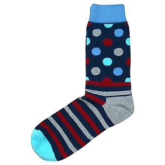 Bassin and Brown Contrast Heel and Toe Striped Socks - Grey/Blue/Wine