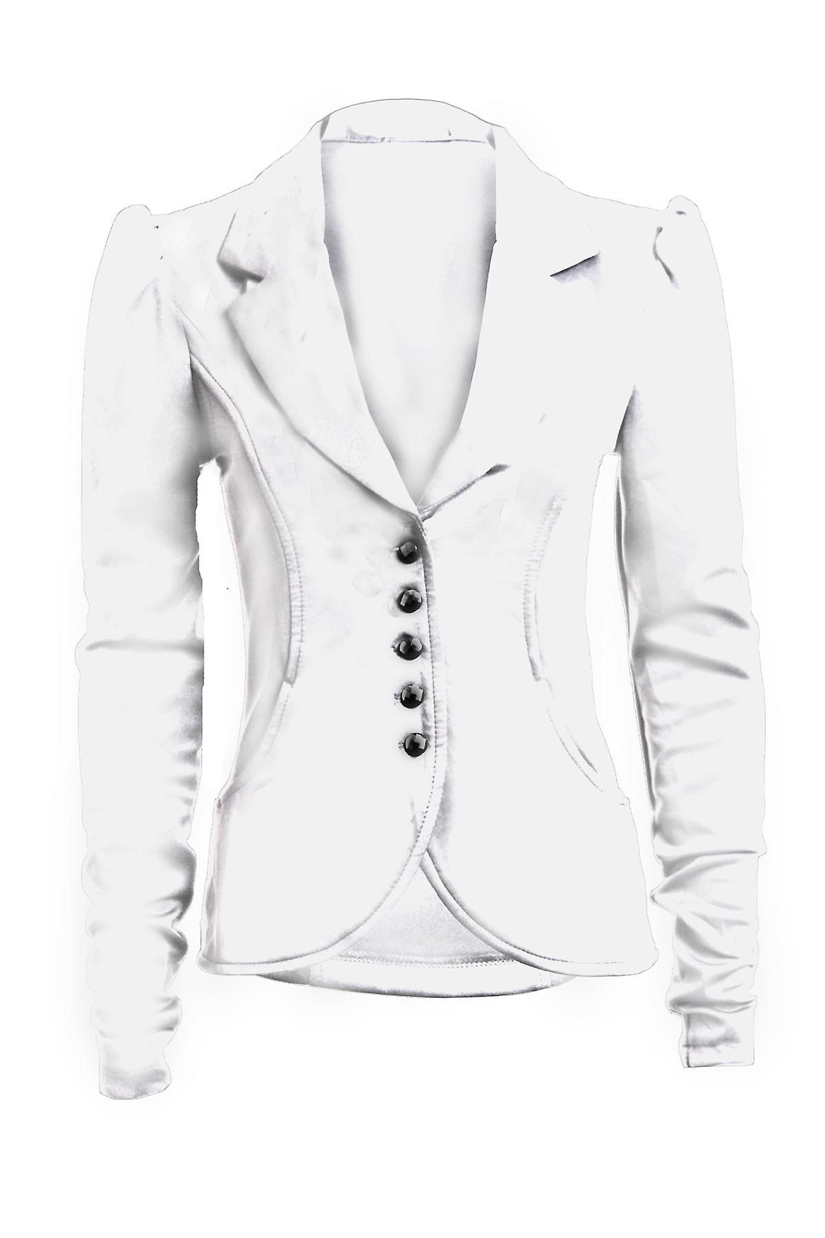 Uusi hyvät pitkä hiha 5 painiketta Slim Fit fiksut taskut naisten bleiseri