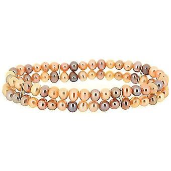 TOC Semi Baroque Dyed Coloured Freshwater Cultured Pearl 2 Row Stretch Bracelet