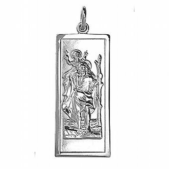 35x15mm прямоугольные St Кристофер кулон серебро