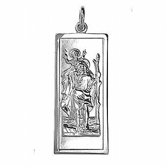 Silver 35x15mm rektangulära St Christopher Pendant