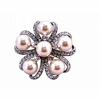 Ivory Pearls Brooch for Wedding Dress or Cake Framed Brooch