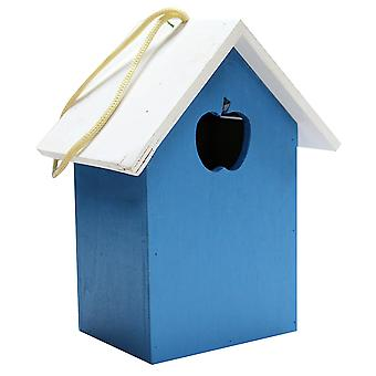 Natures Market Blue BFNEST1 Wooden Wood Wild Bird House Nesting Box with Apple Shaped Entrance Hole