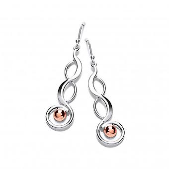 Cavendish French Sterling Silver and Copper Serpent Drop Earrings