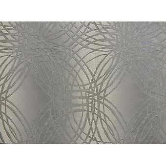 Glitter Wallpaper Textured Metallic Leon Silver Geometric Circles Grandeco