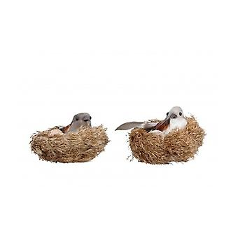 Set of 2 Bird Nest Easter Decoration Gisela Graham
