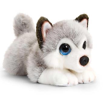 キール署名寄り添う子犬ハスキー犬ぬいぐるみ 25 cm