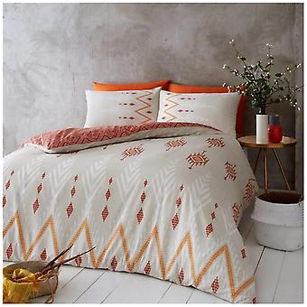 Nico Zigzag Modern Duvet Quilt Cover Reversible Bedding Set With Pillow Case