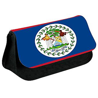 Belize Flag Printed Design Pencil Case for Stationary/Cosmetic - 0018 (Black) by i-Tronixs