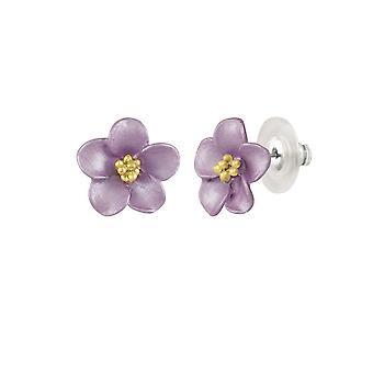 Evige samling Anemone lilla emalje guld Tone Stud gennemboret øreringe