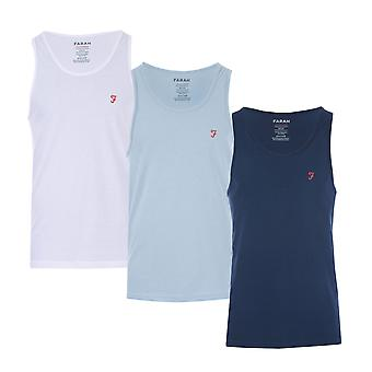 Mens Farah Vestire 3 Pack Vests In Navy/White/Light Blue- One Vest White, One