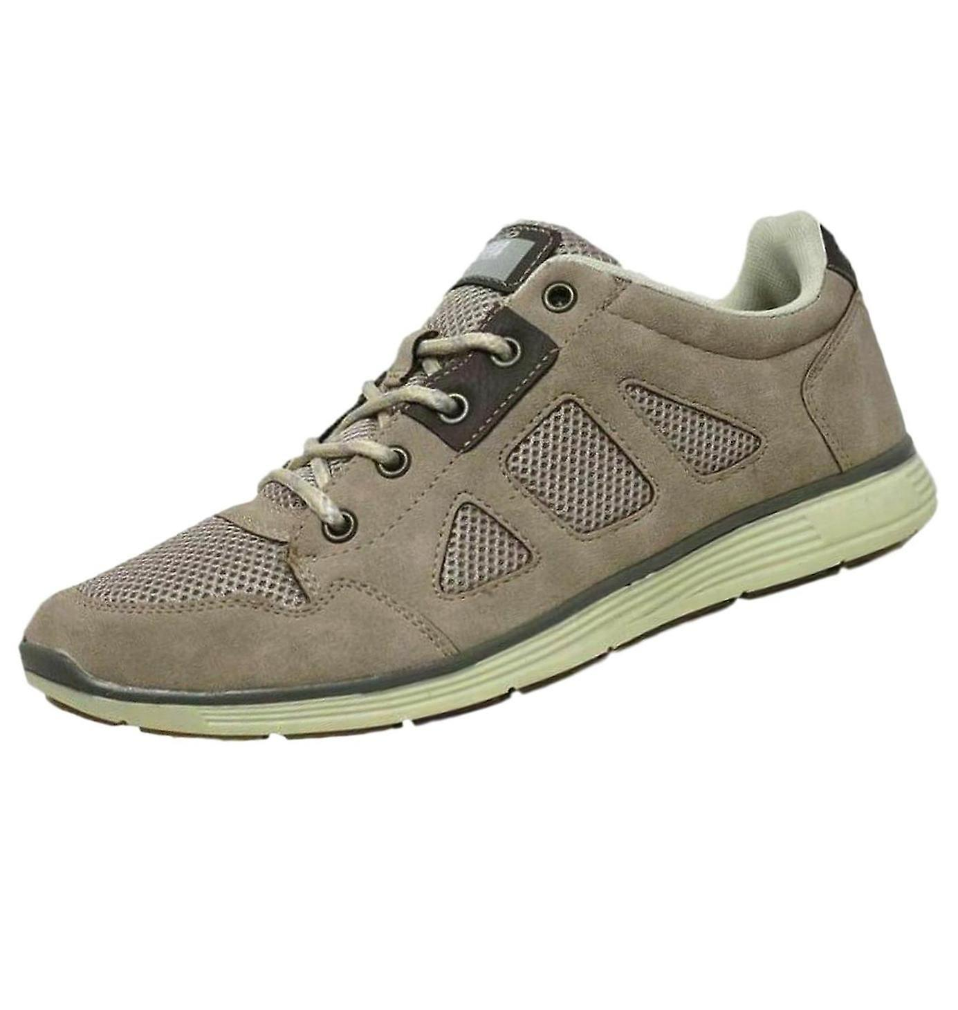 Out Shoes Men's Faux Suede Casual Trainers Beige