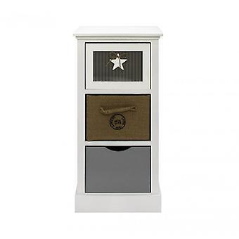 Meubles Rebecca Chest bois 3 White White tiroirs Beige Gray Modern 69x34x29