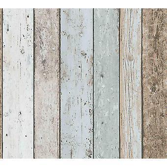 3D effect houten paneel plank behang verontruste crème blauw bruin A. S creatie