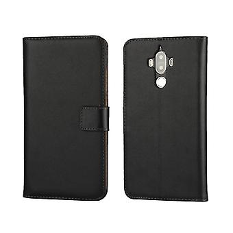 Wallet Case Huawei Mate 9, genuine leather, black