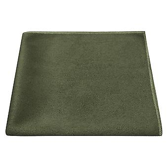 Luxury Dark Olive Green Suede Pocket Square, Handkerchief