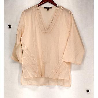 Kate & Mallory Top Lace detalhe & decote V blusa luz laranja A423351