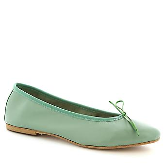 Leonardo Shoes Women's handmade slip-on ballet flats shoes green calf leather