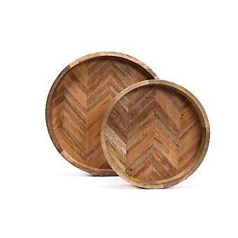 S2 Round Herringbone trays Made by wood