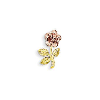 14k Two Tone Solid Textured Polished Open back Gold Mini for boys or girls Pink Rose Flower Pendant Necklace Measures 17