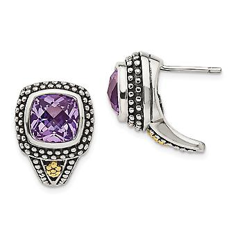 925 Sterling Silver With 14k Antiqued Amethyst Post Earrings Jewelry Gifts for Women - 4.40 cwt