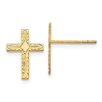 14k de cina amarelo texturizado brincos post escrimalos post brincos cruz esféricos mede 15x10mm Joias