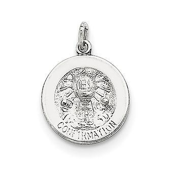 925スターリングシルバーソリッド彫刻研磨とサテン確認メダルペンダントネックレスジュエリーギフト