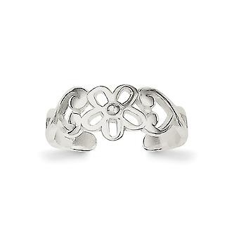 925 Sterling Silver Solid Polished Flower Toe Ring Jewely Gifts for Women