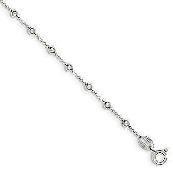 925 Sterling hopea helmillä jousi rengas kiillotettu ranne koru-2,1 grammaa-7 tuumaa