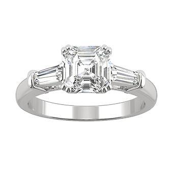 14K White Gold Moissanite by Charles & Colvard 6.5mm Asscher Three Stone Ring, 1.67cttw DEW