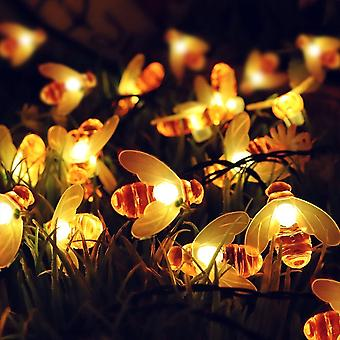 Honeybee String Lights Waterproof 30 LED Bumble Bee Shaped Solar-Powered Lights for Outdoor Garden Party Wedding -Warm White