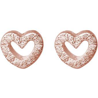 GEMSHINE Damenohrstecker OPEN HEART massiv 925 Silber, vergoldet oder rose