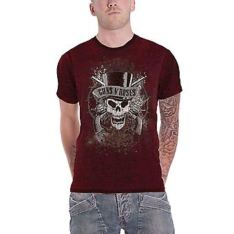 Guns N Roses T Shirt Vintage Faded Skull Logo Official Mens 2tone Burnout