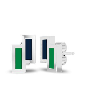 University Of Notre Dame Sterling Silver Asymmetric Enamel Stud Earrings In Blue and Green