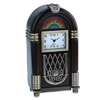 TM Brown & Goldtone Juke Box Miniature Ornamental Novelty Collectors Desk Clock TM31