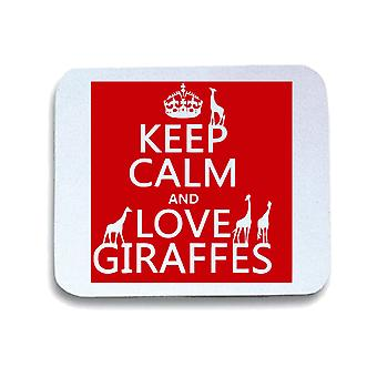 Tappetino mouse pad bianco wtc0099 keep calm and love giraffes