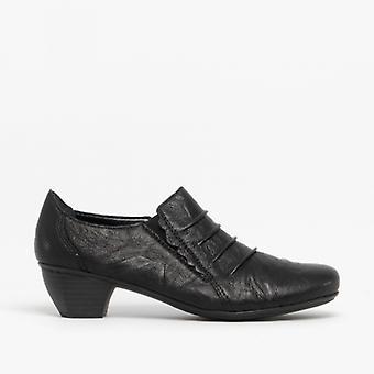 Rieker 41762-01 Damen Leder Slip On Heeled Schuhe Schwarz