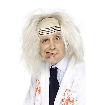 Mens Albert Einstein Mad Scientist kjemiker White blonde Wig