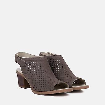 Milano mink leather peep toe sandal