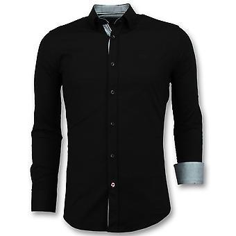 Italian blank Blouse men-Slim Fit Shirts-3036-Black