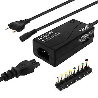 100W Universal 12 to 24V AC/DC Adapter Charger with 8 tips- A100W- LinQ, Black