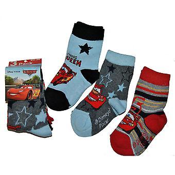 Disney Cars sokken 3-pack-blauw/grijs/rood