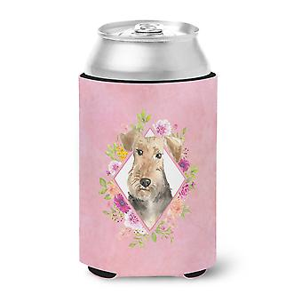 Carolines Treasures  CK4204CC Airedale Terrier Pink Flowers Can or Bottle Hugger