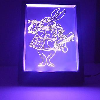 Alicja w krainie czarów biały królik kolor zmiana Lekka rama RC LED lustra
