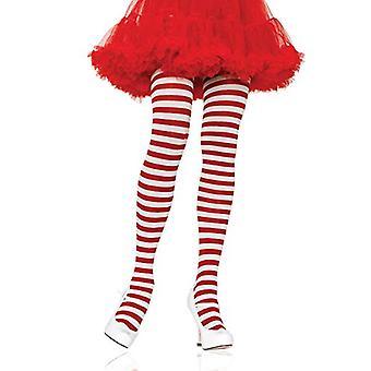 Leg Avenue Frauen's Nylon gestreifte Strumpfhosen, weiß/rot, Einheitsgröße