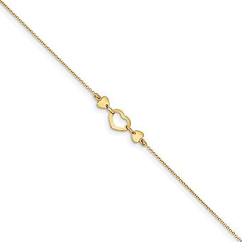 14k Polished Love Heart With .75inch Ext. Anklet 10 Inch Jewelry Gifts for Women - 1.5 Grams