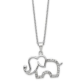 23.97mm Cheryl M 925 Sterling Silver CZ Cubic Zirconia Gesimuleerde Diamond Elephant Ketting 18,25 Inch Sieraden Geschenken voor
