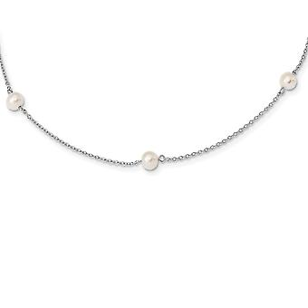 925 Sterling Silver Rh plated for boys or girls 5 5.5mm Freshwater Cultured Pearl 5 station Necklace 12 Inch