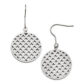 Edelstahl poliert Laser geschnitten Schäferhaken Diamant Staub lange Tropfen Ohrringe Schmuck Geschenke für Frauen